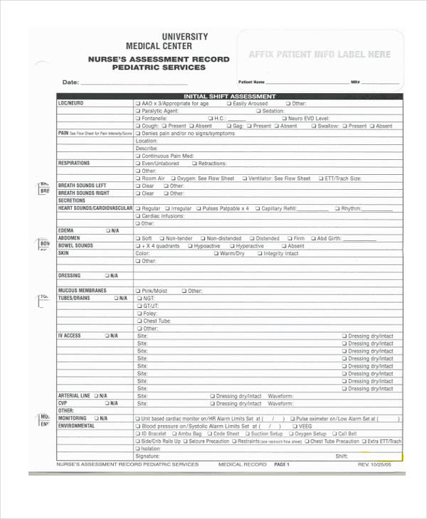 pediatric nursing assessment form - Ozilalmanoof - nursing assessment template