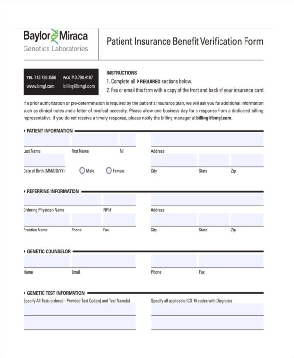 22+ Insurance Verification Forms in PDF - letter of medical necessity form
