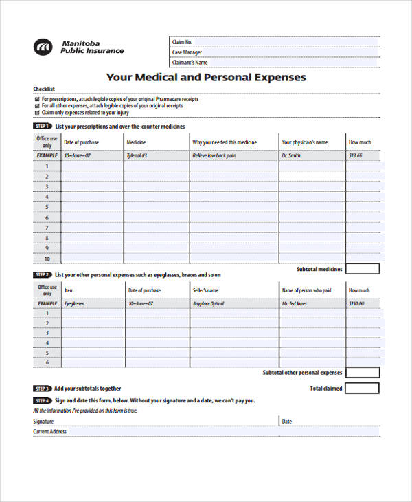11+ Personal Expense Form Sample - Free Sample, Example Format Download