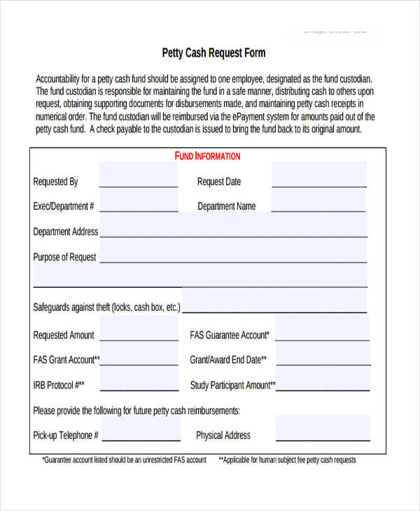 29+ Sample Check Request Form - petty cash request form