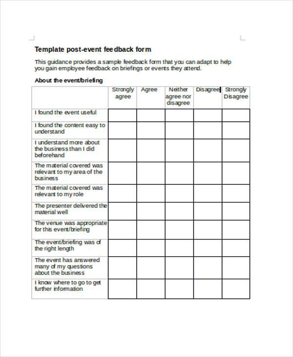 Format for feedback form nfgaccountability – Event Feedback Form in Pdf