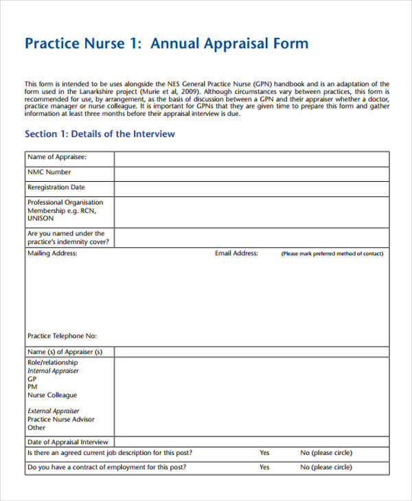 7+ Nurse Appraisal Form - Free Sample, Example,Format Download