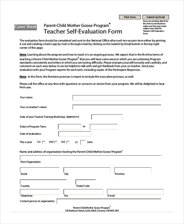 Teacher Self Evaluation Forms Parent Teacher Conference Forms