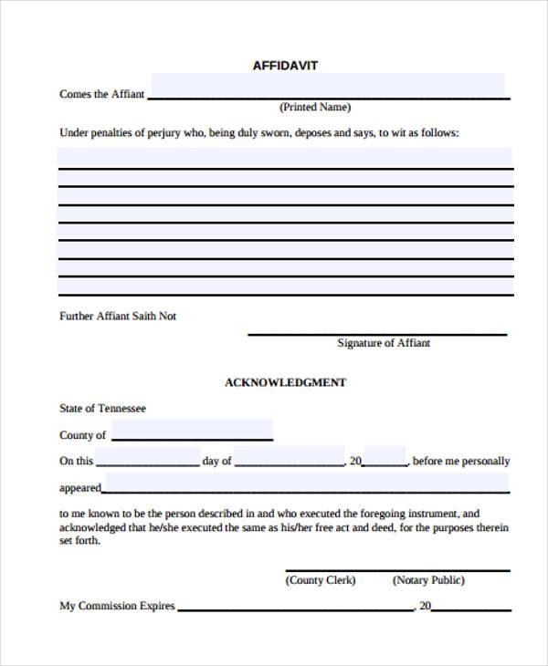 Charmant Blank Affidavit Galerie - Bilder für das Lebenslauf - general affidavit form