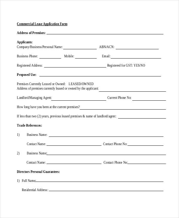 commercial application form - Deanroutechoice