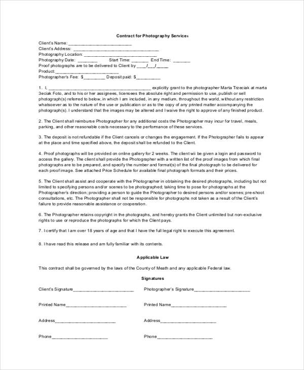 10+ Photography Contract Form Sample - Free Sample, Example Format - photography services contract