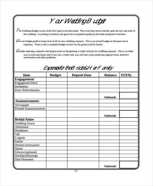 6+ Wedding Budget Form Sample - Free Sample, Example, Format Download - sample wedding budget