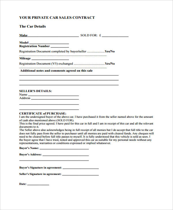32+ Sales Agreement Form in PDF - private car sale contract template