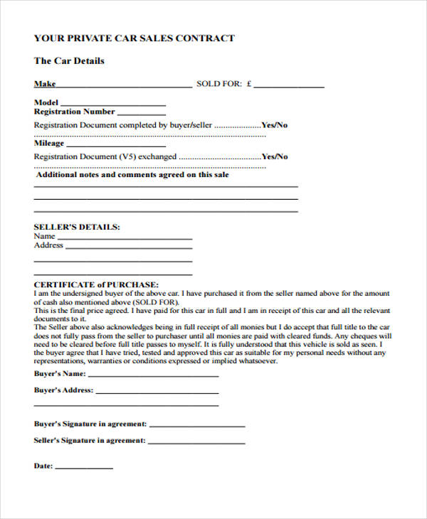 29+ Sample Sales Agreement Form - auto sales contract template