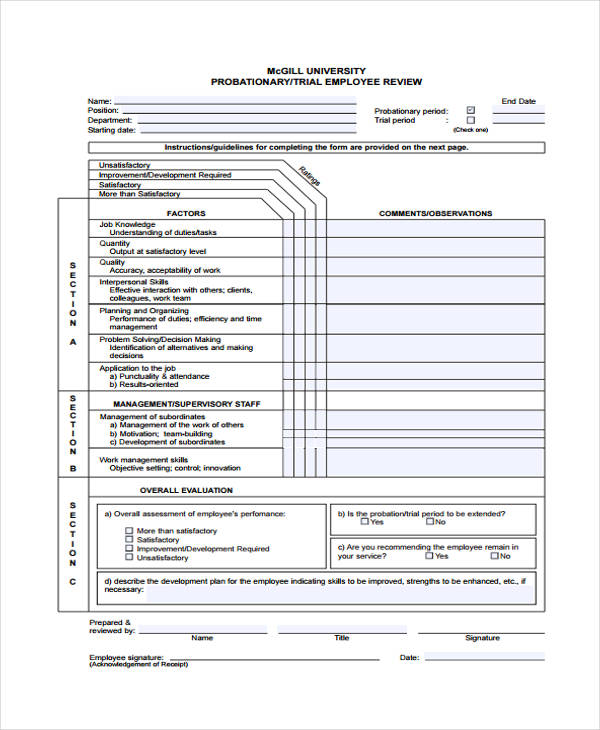20+ Employee Review Form Example - employee review