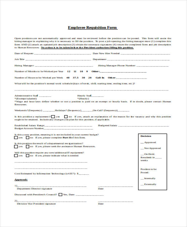 8+ Employment Requisition Form Sample - Free Sample, Example Format