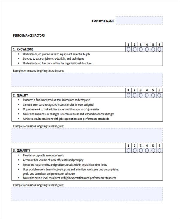 19+ Sample Employee Review Forms - employee review examples