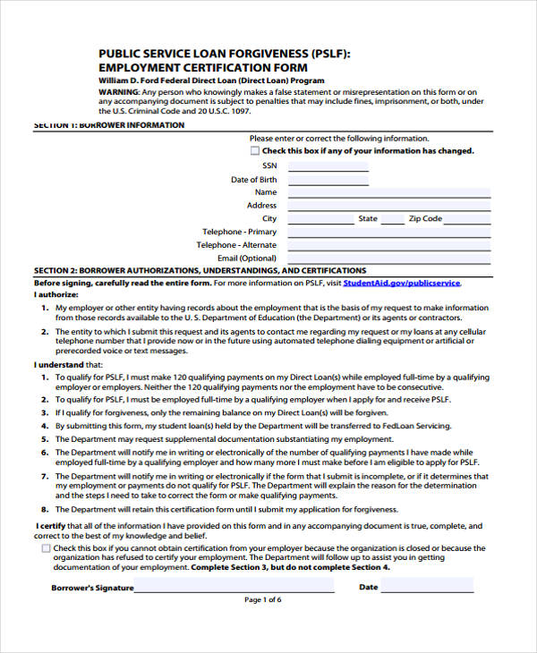 10+ Employment Certification Form Sample - Free Sample, Example