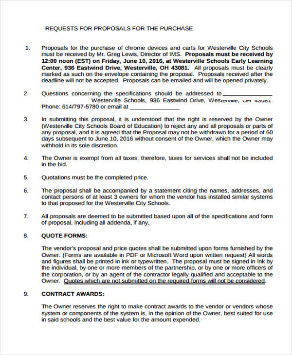 Request Proposal Form - 9+ Free Documents in Word, PDF - request for proposal example