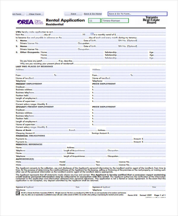 realtor rental application form - Vocaalensembleconfianzanl - lease application form