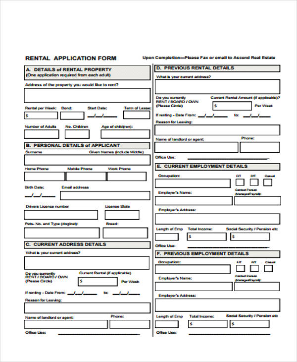 26 Free Rental Application Forms - tenant application form