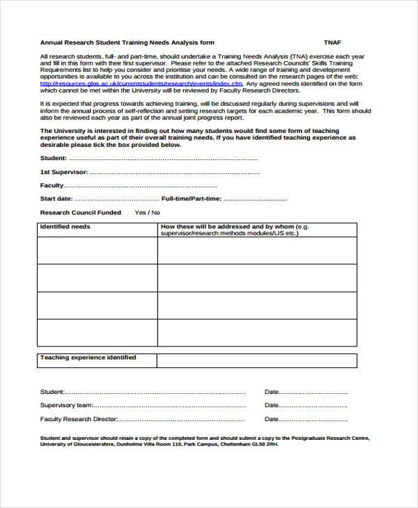 28+Sample Needs Assessment Form - training needs analysis template