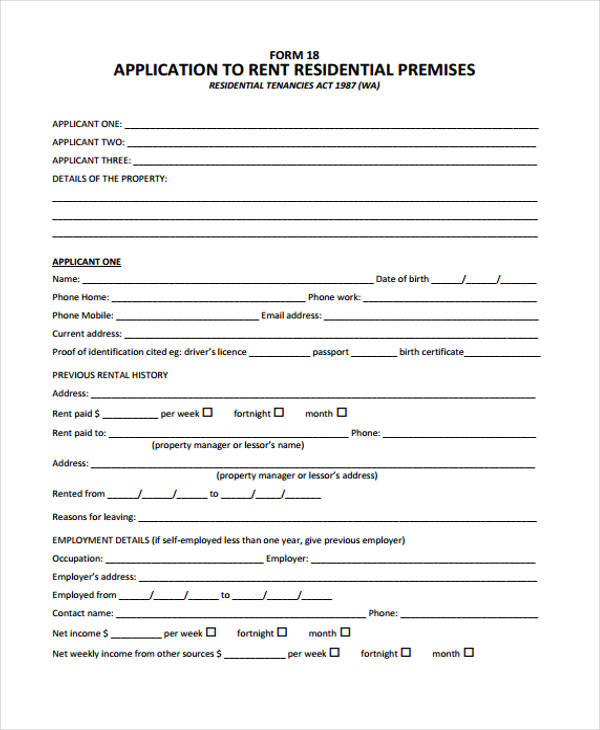 12 Sample Rent Application Form - Free Sample, Example, Format Download