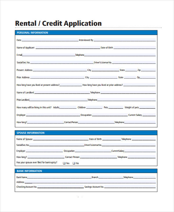 26 Free Rental Application Forms - credit application form