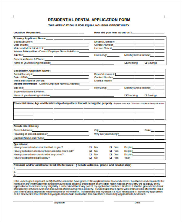 Sample Lease Application Form - Sample Lease Application