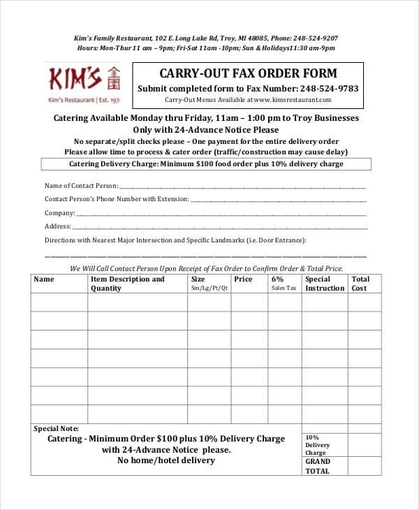 11+ Restaurant Order Form Sample - Free Sample, Example Format Download - food order form