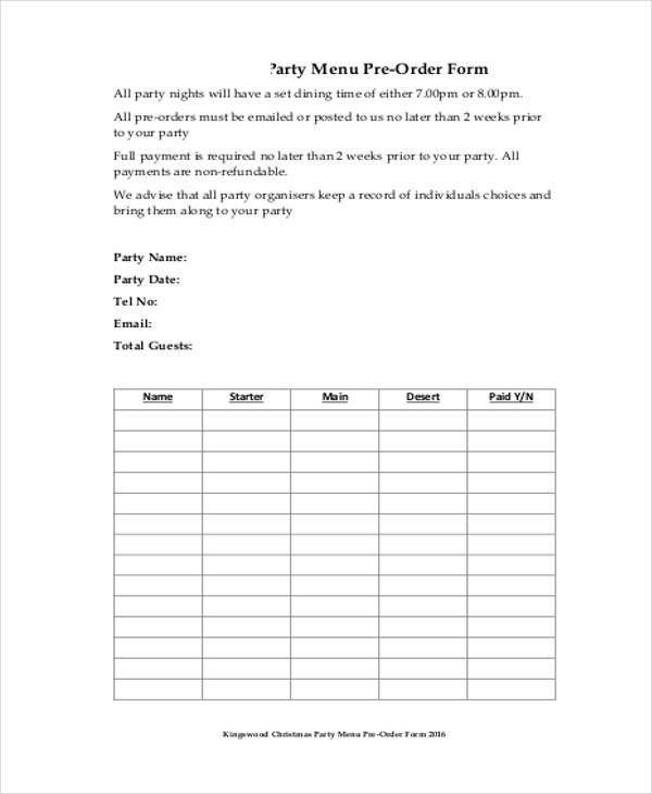 food pre order form template - Apmayssconstruction