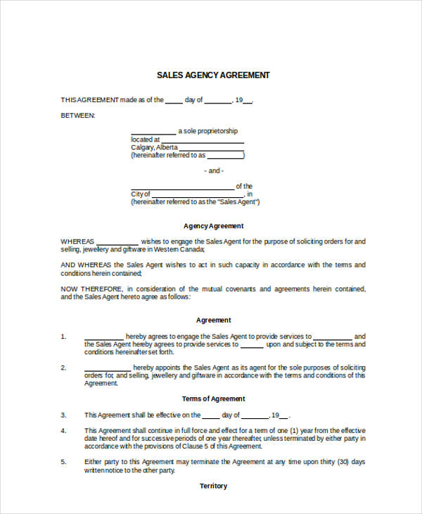 Agent Contract Agreement Cvfreeo