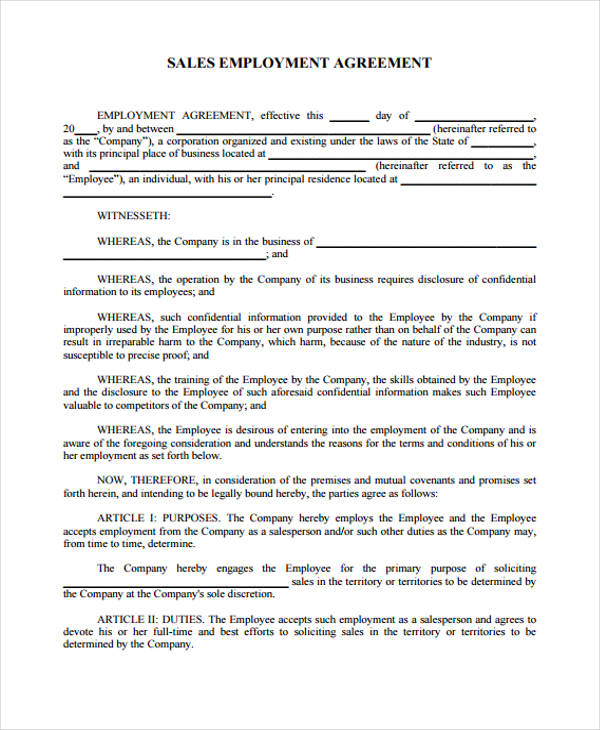 Sales Employment Agreement Contract Sales Jobs New Employment - sales employment agreement