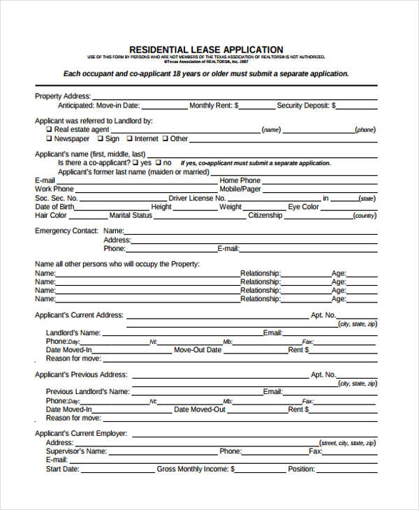 21+ Free Lease Application Form - Free Documents in Word, PDF