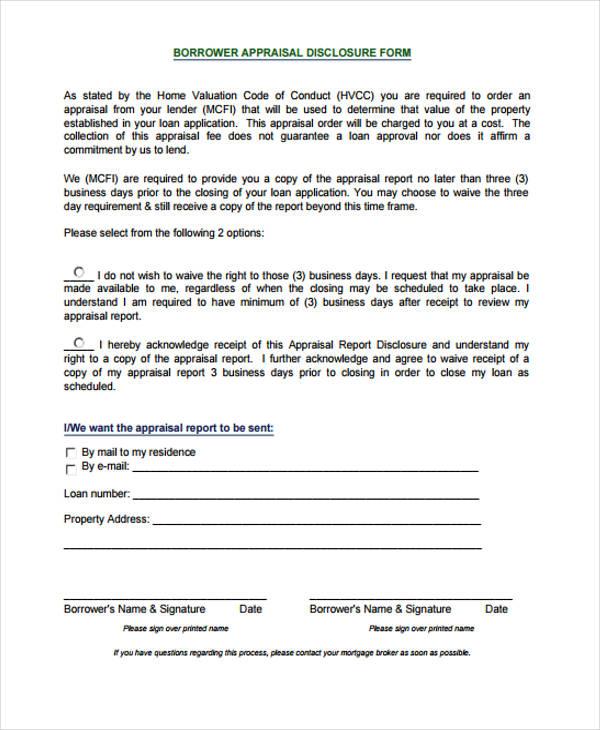 6+ Sample Appraisal Disclosure Form - Free Sample, Example, Format