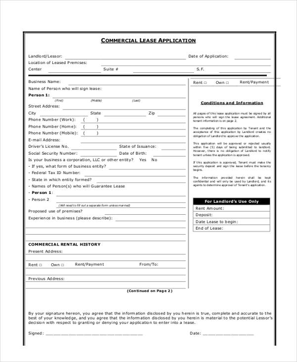7+ Commercial Lease Application Form - Free Sample, Example, Format - Sample Lease Application