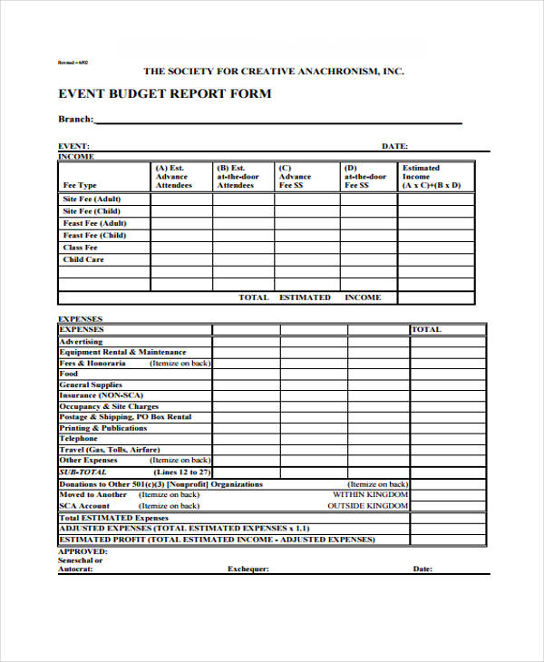 27 Free Expense Report Forms - event expenses report