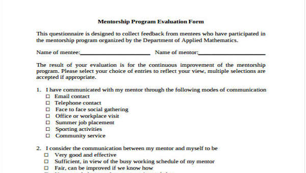 Mentor Evaluation Form - 9+ Free Documents in Word, PDF