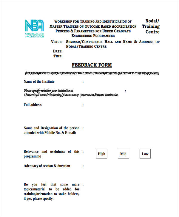 8+ Seminar Feedback Form Sample - Free Sample, Example Format Download