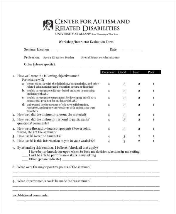 21+ Workshop Evaluation Form Examples - seminar evaluation form