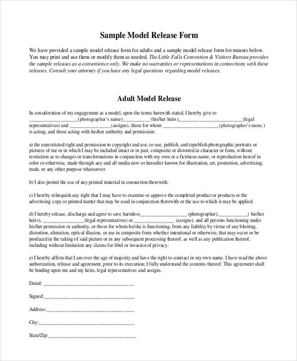 Contract Release Form Sample Profit Sharing Agreement Impression - sample print release form example