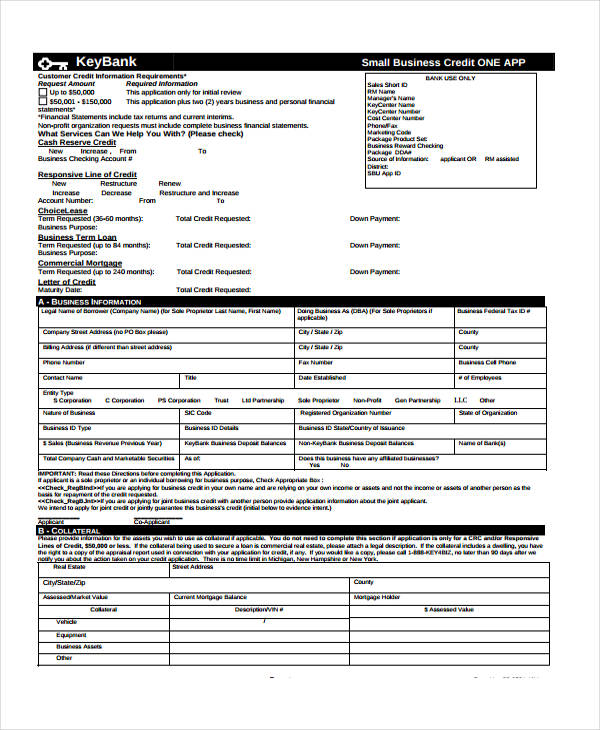 credit application form for business