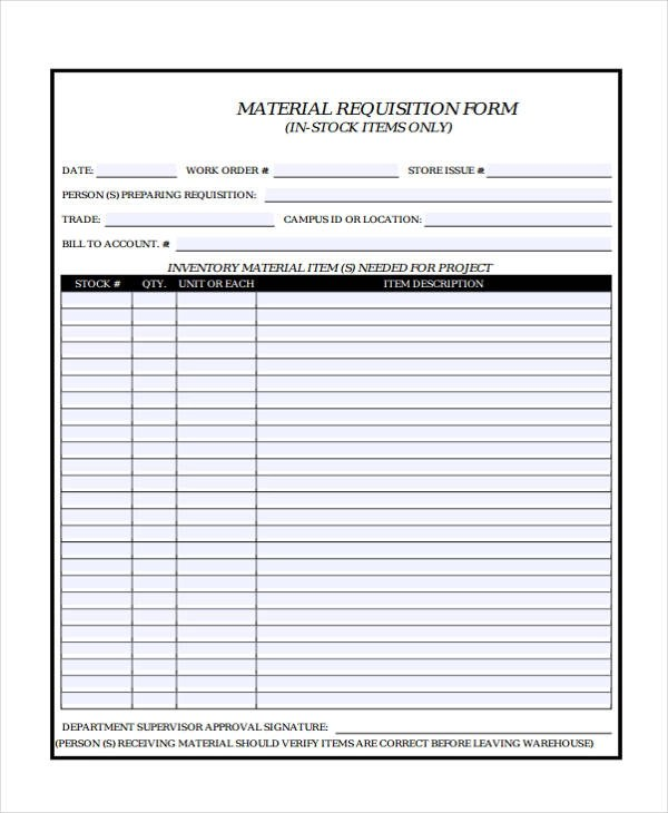 12+ Material Requisition Form Sample - Free Sample, Example Format - sample requisition form