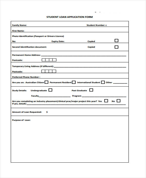 41 Student Application Form Templates - application forms template