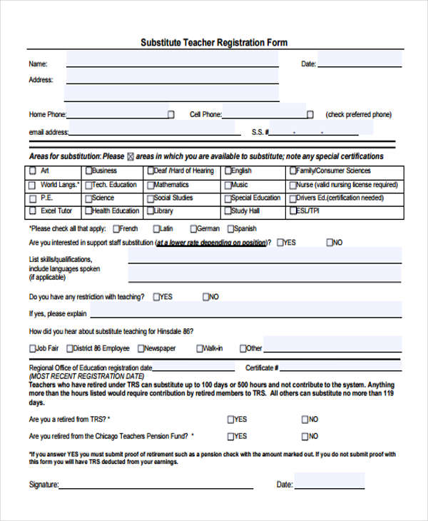 7+ Teacher Employment Form Sample - Free Sample, Example Format Download - substitute teacher feedback forms