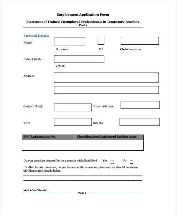interview application form template - Yenimescale