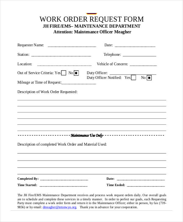 5+ Maintenance Work Order Form - Free Documents in Word, PDF - maintenance work order form