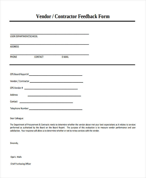 7+ Vendor Feedback Form Sample - Free Sample, Example Format Download