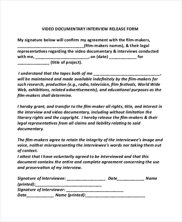 interview release form - Athiykhudothiharborcity
