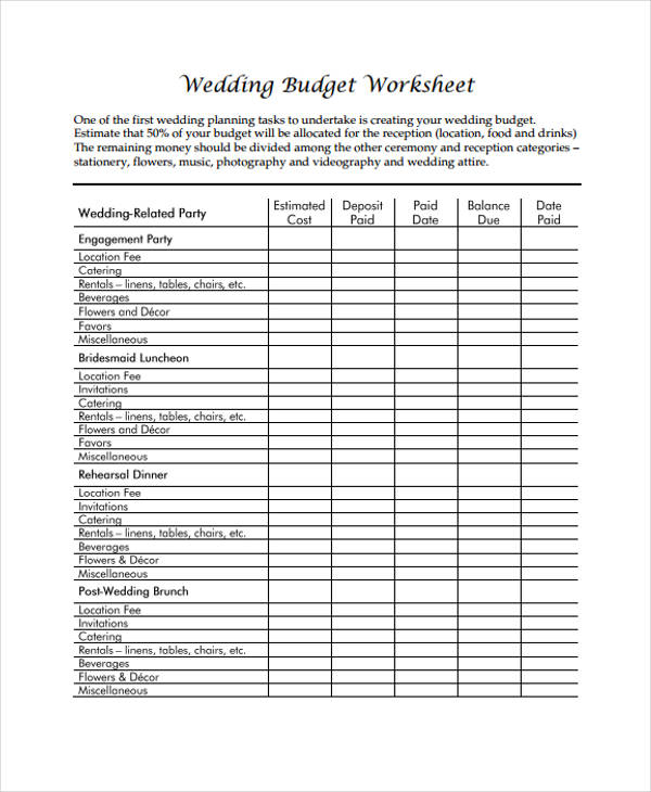 what is a budget worksheet