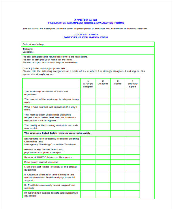14 Sample Workshop Evaluation Forms
