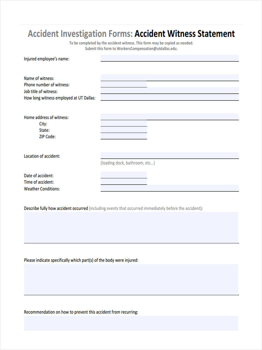 sample witness statement form