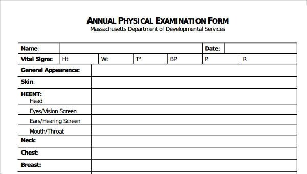 6+ Physical Exam Form Sample - Free Sample, Example Format Download