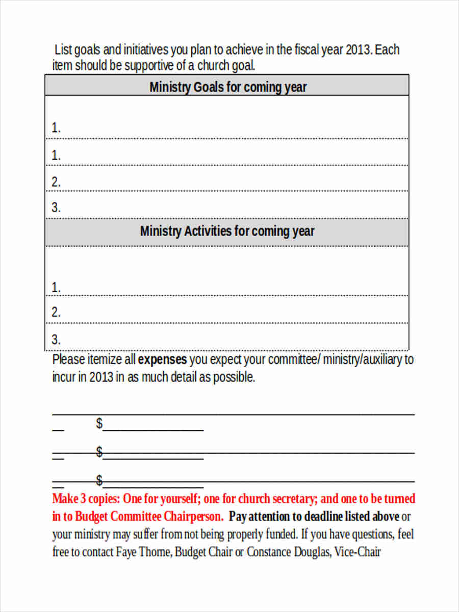 basic budget forms