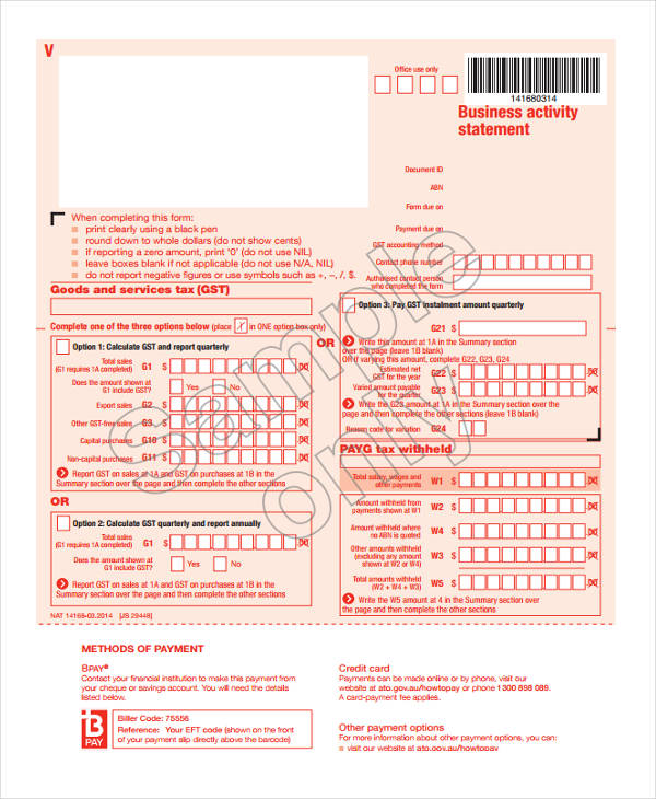 sample business financial statement